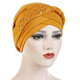 Braided Hair Wraps UK - Hat Muslim Cancer Chemo Cap Hijab Head Wrap Hair Loss Head Scarf Women Cute Fashion Bandana Ladies Elastic Beads Braid Turban