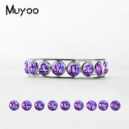 Silver Bangle Bracelet For Girls Australia - New Fashion 12 Zodiac Bangle Cuff Glass Cabochon Accessories Silver Adjustable Bracelets Beauty Gifts for Girls Ladies Jewelry