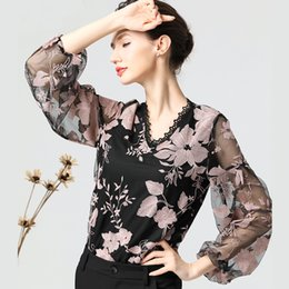 1550cee4df5e2 Sexy Embroideried Floral Transparent Gauze Chiffon Blouse Women Shirt And  Top Plus Size V-Neck Long Sleeve Spring Women Clothing