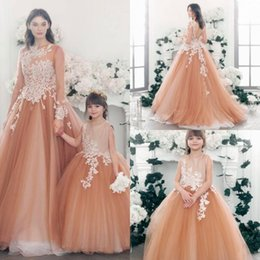 Mothers Daughters Dresses Australia - Mother and Daughter Ball Gown Prom Dresses Long Sleeve Lace Appliqued Backless Formal Dress Evening Wear Vintage Tulle Modest Party Gowns