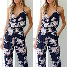 $enCountryForm.capitalKeyWord Australia - Trendy New Women Clothes Summer Bodycon Party Backless Flower Print Jumpsuit Sleeveless Polyester V-neck Romper One Pieces