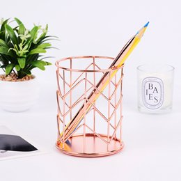 Bottles, Jars & Boxes Home Decor Sensible Multifunctional Rose Gold Wire Net Pencil Holder Round Iron Mesh Pen Cup Stationery Organizer Desk Sorter For Office Home School Selected Material