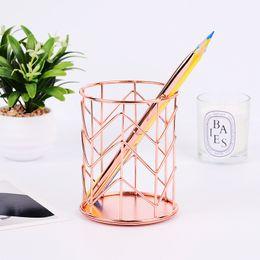 $enCountryForm.capitalKeyWord UK - Pen Holder for Desk Organizer Accessories Metal Rose Gold Brush Nurse Office Round Pencil Storage Desktop Stationery Supplies