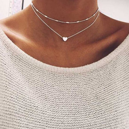 $enCountryForm.capitalKeyWord Australia - Fashion Gold Silver Color Jewelry Love Heart Necklaces & Pendants Double Chain Choker Necklace Collar Women Jewelry Gift