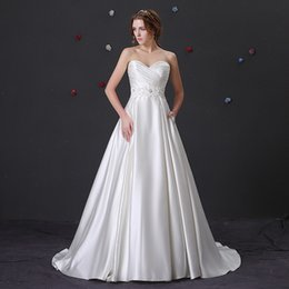 $enCountryForm.capitalKeyWord Australia - Real 2019 Sweetheart Neck White Wedding Dresses Simple Design Waist With Appliques Back Cover Button Boho Garden Bridal Gown With Pocket