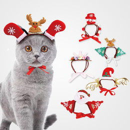 Wholesale Cute Christmas Dog Headwear Lovely Halloween Cat Headdresses Fashion Pet Santa Print Hats Cosplay Dressing Up Props TTA1658