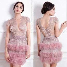 $enCountryForm.capitalKeyWord Australia - 2019 Feather Short Prom Dresses Sheer Jewel Neck Lace Appliqued Cap Sleeves Mini Evening Gowns Custom Made Illusion Cocktail Party Dresses