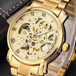 $enCountryForm.capitalKeyWord Australia - Wholesale-New Luxury Golden Mechanical Automatic Wrist Watch Rome Number Men Stainless Steel Band Skeleton Dial Mens Watch Time Gift M104