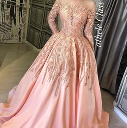 capped sleeve nude bridesmaid dress NZ - Luxurious Beaded Lace Arabic 2019 Evening Dresses Sheer Neck Long Sleeves Satin Prom Dresses Pink Sexy Formal Party Bridesmaid Pageant Gowns