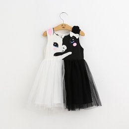 $enCountryForm.capitalKeyWord Australia - Girls White Black Rabbits Dress 2019 Kids Dresses For Girls Girl Princess Summer TUTU Dress