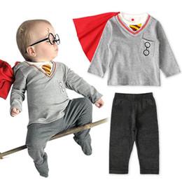 Shirt Poncho Australia - Ins newborn baby boy clothes boys suits 3pcs long sleeve T-shirt+poncho+trousers boys clothing sets Baby Infant Boy Designer Clothes A6241