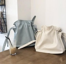 plain drawstring bags NZ - 2020 spring and summer new Korean simple solid color pu fashion handbags wild drawstring shoulder bag leisure temperament oblique large