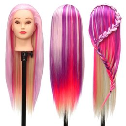 Training hairdressing mannequin online shopping - 27 quot Colorful Manikin Rainbow Dolls Head With cm Purple Fiber Long Hair Hairdressing Cosmetology Salon Mannequin Training Head