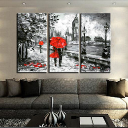 $enCountryForm.capitalKeyWord Australia - Canvas Print Pictures Living Room 3 Pieces Red Umbrella Lover Painting London Street Rain View Poster Retro Home Decor Wall Art