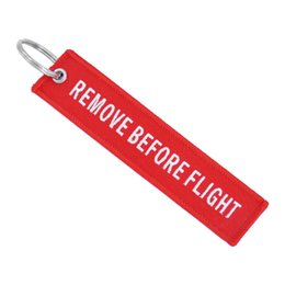 Remove Chain Australia - In Stock !13 Models Remove Before Flight Key Chain Double-sided Hand Embroidery Luggage Tag Zipper Woven Keychain Gifts