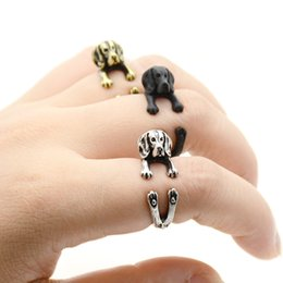 wholesale dog lover gifts NZ - Boho Vintage silver Black Beagle Puppy Dog Wrap Rings For Women Anel Cute Retro Animal Couple Ring Men Gift For Pet Lover Wholeslae Lot Bulk