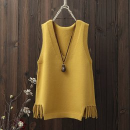 $enCountryForm.capitalKeyWord NZ - 2019 Spring Autumn Women Fashion Casual Tank Tops Pullover Female Elasticity Sweater Sleeveless V-Neck Tassel Knitted Vest A18