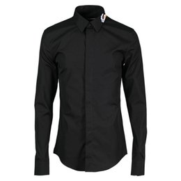 mens black shirt white collar NZ - Luxury Men Shirt New Arrival Sea Wave Embroidered Mens Dress Shirt White Black Mens Shirts Casual Slim Fit Men Clothes 2020