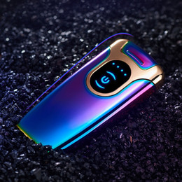 Wholesale Colorful Zinc Alloy Electronics LED Lighters Inductive Touch Power Display Beautiful Cyclic Charging For Cigarette Smoking Pipe Tool