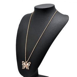 Wholesale Fashion Simple Butterfly Rhinestone Hollowed Out Korean Version Of The New Sweater Chain Women Butterfly Rhinestone Accessories