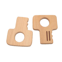 $enCountryForm.capitalKeyWord NZ - 4pcs Beech Wooden Key Shape Teether Baby Teethers Infants Teething Toys Baby Accessories For Baby Necklace Making