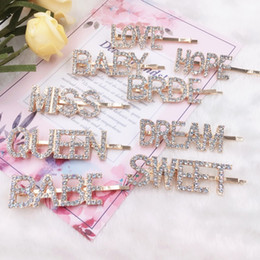 Discount hairpin diamonds - Gold Crystal Rhinestone Letter Hair Clips Girl Hairpin Bling Diamond Words Barrettes Fashion Bangs Clip Woman Hair Acces