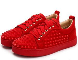 Genuine Leather Bag Design Australia - Dust bag original box design studs calf leather low to help mix red20shoes luxury party wedding shoes leather spikes lace casual shoes