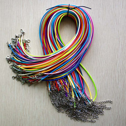 $enCountryForm.capitalKeyWord Australia - Wholesale 100pcs lot 2mm mixed Wax Leather cord rope necklaces 45cm with Lobster clasp jewelry for diy pendants free shipping