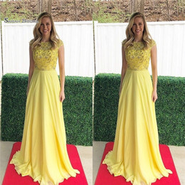HigH quality broocHes online shopping - 2019 Eyesight Yellow Jewel Short Sleeves Chiffon Beads High End Quality Evening Party Dress Hot Sales