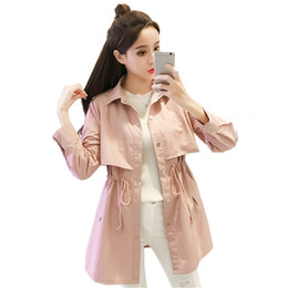 Wholesale pink spring trench for sale - Group buy Spring Trench Female Windbreaker Coat Women Clothes Plus Size Pink Trench Coat Casual Slim Long Sleeve Women Coats Q1143