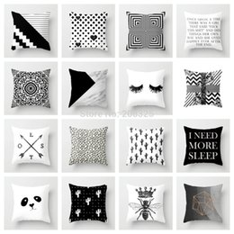 art throw pillow NZ - ZENGIA Geometric Cushion Cover Black and White Polyester Throw Pillow Case Striped Dotted Grid Triangular Geometric Art Cushion