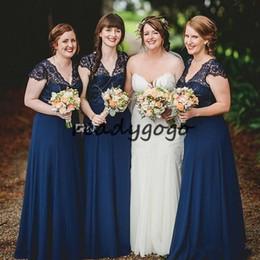 Bridesmaid Dresses Lace Tops Australia - 2019 Navy Blue Boho Bridesmaids Dresses A Line Floor Length Lace Top V Neck Beach Garden Long Wedding Guest Gowns Plus Size