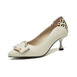 Shoes Genuine Fur Australia - New Spring High-heeled Female Fine-heeled Single Shoes Cat-heeled Leopard-print Point Fashion Genuine Leather Horse Fur Shoes size35-39