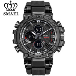 Analog Double Digital Sports Watch Australia - Smeal Men Sport Watches Digital Double Time Chronograph Watch Mens Led Chronometre Week Display Wristwatches Montre Homme Hour
