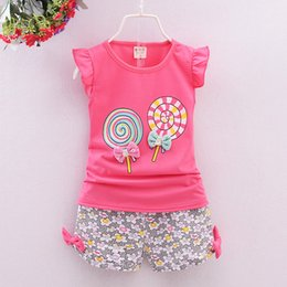 Girl S Shorts Pants NZ - Summer Children Outfits Girls Lollipop Short Sleeve Shirt + Floral Short Pants 2 pcs Outfits 4 s l