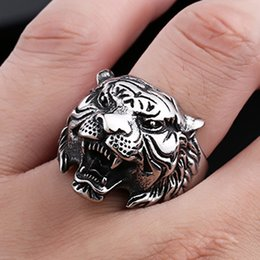 animal rings fashion accessories NZ - Ring men Jewelry Vintage Tiger head shape four-color Cool Animals Accessories Fashion Stainless steel rings XULIN FJDE-15