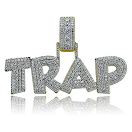 Pendant Letters Gold 18k Australia - Hiphop Jewelry Men Letter TRAP Pendant Necklace Pave Micro CZ Ice Out 18K Gold Plated Hip Hop Necklaces