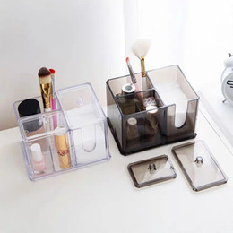 swab holder UK - Clear Acrylic Makeup Organizer Transparent Cotton Swab Box Lipstick Makeup Brushes Holder Nail Polish Case Cotton Pad Cosmetic Storage Box