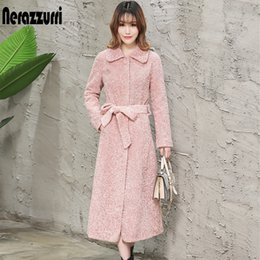 Wholesale Nerazzurri Winter long fur coat women fluffy warm long sleeve plus size pink faux fur overcoat ladies lamb wool coat with belt