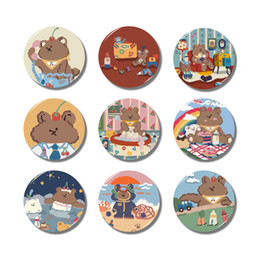 Discount series package - Lychee Cartoon Bear Series Fridge Magnet Round Glass Refrigerator Magnets Travel Souvenirs Home Kitchen Decoration