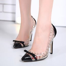4cddc24f4195c Sexy modelS Stiletto high heelS online shopping - Dress European And  American Models Transparent Rivets Sexy
