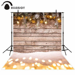 snow spray wholesale NZ - Allenjoy photography background winter wood board snow Christmas glitter balls backdrop photo studio photocall photophone prop
