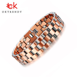 $enCountryForm.capitalKeyWord Australia - Oktrendy Stylish Double Row Magnets Red Copper Bracelets 15MM Healthy Magnetic Bio Energy Link Chain Pulsera Masculina 8.5""