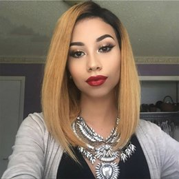 short two tone human hair wigs 2020 - Golden Blonde Ombre Full Lace Wigs Virgin European Human Hair Lace Front Wig Straight Short Bob Wig Two Tone #1B #27 che