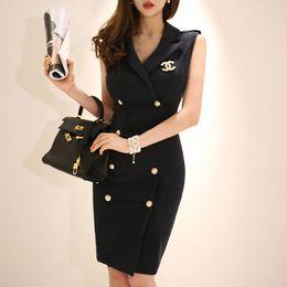 1159b7202f7 2019 Women Summer Office Lady Work Wear Slim Vestidos Sleeveless  Belteddouble Button Sexy Korean Fashion Style Dress Clothes J190511
