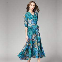 $enCountryForm.capitalKeyWord Australia - Summer Chiffon Dress European and American fashionable high-end new V-collar printed half-sleeve elegant figure-building Chiffon Dress