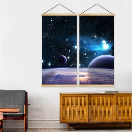 $enCountryForm.capitalKeyWord Australia - Wall Art Canvas Pictures 2 Panel Starry Sky Planet Poster Wooden Scroll Hanging Painting Print Home Decoration For Living Room