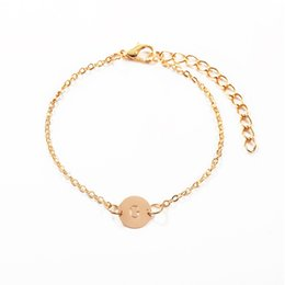 Name Plate Jewelry Sets Australia - Gold Round Initials Name Bracelet Fashion A To Z 26 Letter Charm Bracelets For Women Girls Alphabet Letter Jewelry Gift
