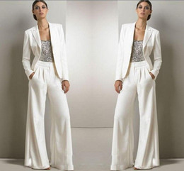 Modest spring fashion online shopping - 2020 New Bling Sequins Ivory White Pants Suits Mother Of The Bride Dresses Formal Chiffon Tuxedos Women Party Wear Fashion Modest
