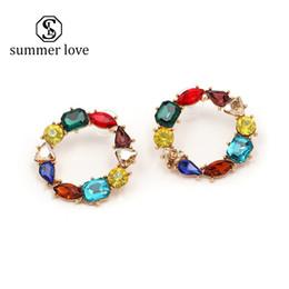 $enCountryForm.capitalKeyWord Australia - 2019 New Arrival Boho Fashion Crystal Statement Hoop Earring for Women Colorful Big Circle Shine Diamond Dangle Earrings Wedding Jewelry